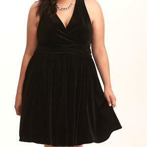 4X 26 Torrid Black Velvet Surplice Cocktail Dress